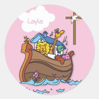 Pegatina Redonda Bautismo del bebé de la arca de Noah adaptable,