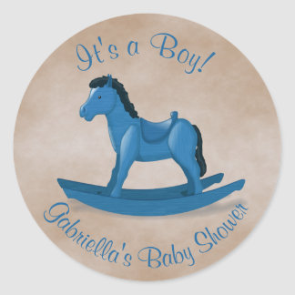 Pegatina Redonda Bebé azul del caballo mecedora