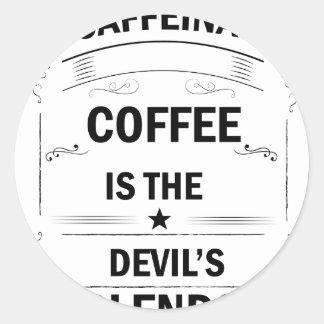 Pegatina Redonda bebida divertida del café