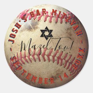 Pegatina Redonda Béisbol Mitzvah de PixDezines