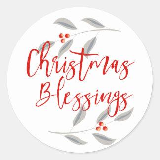 Pegatina Redonda Bendiciones del navidad de las hojas y de las