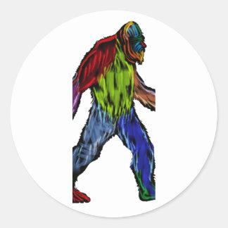 Pegatina Redonda Bigfoot en grande