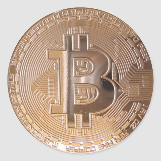 Pegatina Redonda Bitcoin metallic made ​​of copper. M1