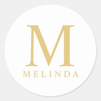 Pegatina Redonda Blanco y monograma elegante del oro