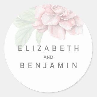 Pegatina Redonda Boda blanco elegante de la flor rosada suave