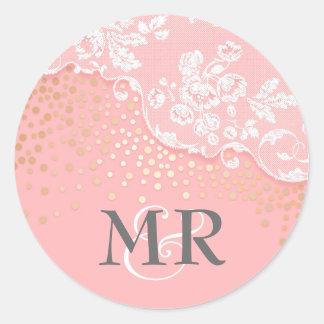 Pegatina Redonda Boda del encanto del rosa del Glitz del confeti