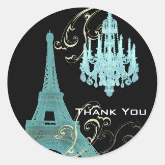 Pegatina Redonda Boda del vintage de la lámpara de la torre Eiffel