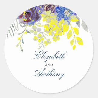 Pegatina Redonda Boda floral azul y amarillo de la acuarela