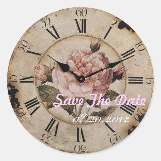 Pegatina Redonda Boda floral color de rosa rosado del steampunk del