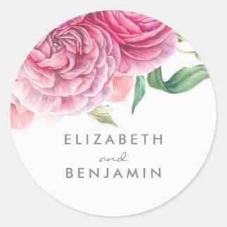 Pegatina Redonda Boda floral del rosa botánico de la acuarela