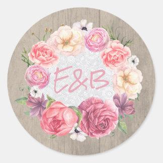 Pegatina Redonda Boda rosado rústico de la guirnalda de las flores