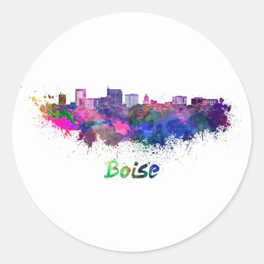 Pegatina Redonda Boise skyline in watercolor