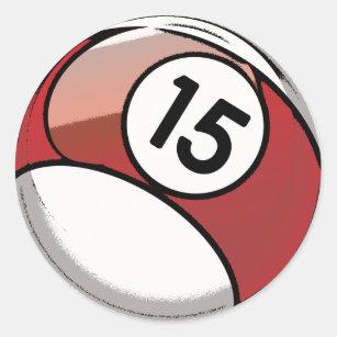 Pegatina Redonda Bola de billar cómica del número de estilo 15 99a299f73e747