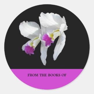 Pegatina Redonda Bookplate blanco de la orquídea