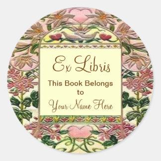 Pegatina Redonda Bookplate de Libris de los corazones de la