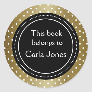 Pegatina Redonda Bookplate elegante del negro y del oro