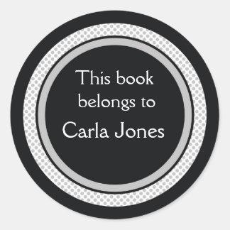 Pegatina Redonda Bookplates personalizados: Lunares negros y grises