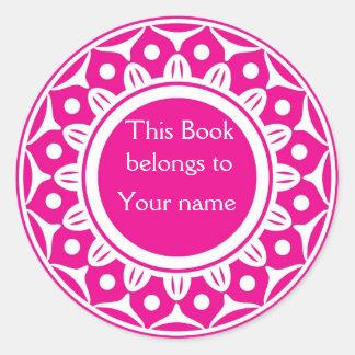 Pegatina Redonda Bookplates personalizados personalizado - rosa y