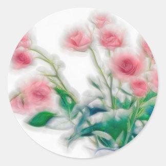 Pegatina Redonda Bosquejo del ramo color de rosa