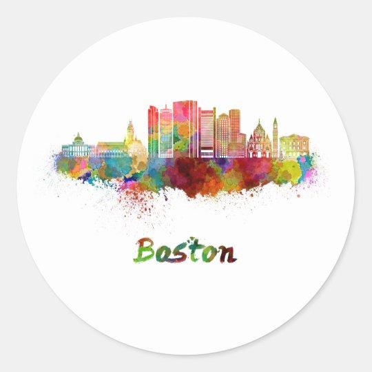 Pegatina Redonda Boston V2 skyline in watercolor