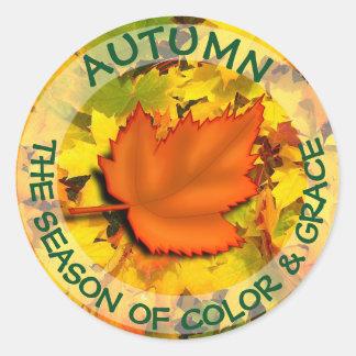 Pegatina Redonda Botón de la cita del otoño