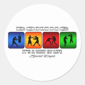 Pegatina Redonda Boxeo fresco es una manera de vida