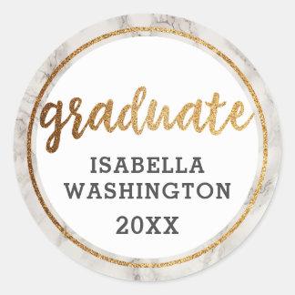 Pegatina Redonda Brillo de moda del oro y graduado blanco del