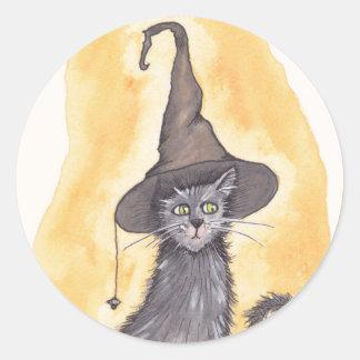 Pegatina Redonda Bruja del gatito de Halloween