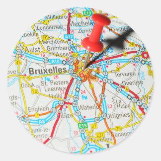 Pegatina Redonda Bruselas, Bruselas, Bruselas en Bélgica