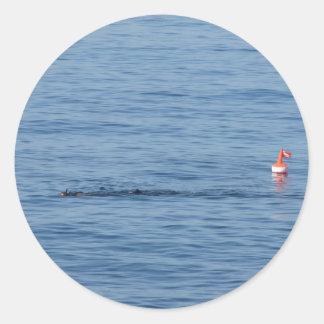 Pegatina Redonda Buceador del mar en nadada del juego del equipo de