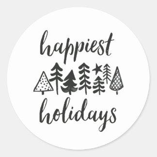 Pegatina Redonda Buenas fiestas árboles de navidad de la acuarela