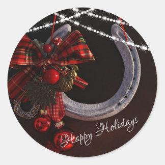 Pegatina Redonda Buenas fiestas herradura y arco del navidad