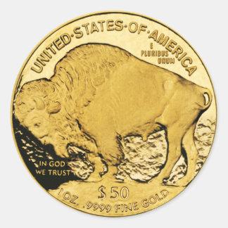 Pegatina Redonda Búfalo americano de la moneda de oro $50 (paquete