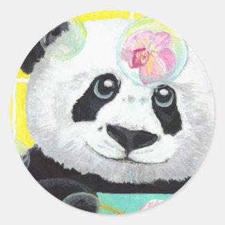 Pegatina Redonda Burbujas de la panda