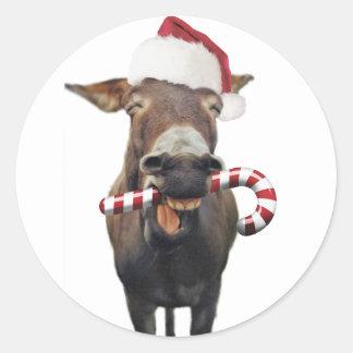Pegatina Redonda Burro del navidad - burro de santa - burro santa