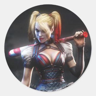 Pegatina Redonda Caballero de Batman Arkham el | Harley Quinn con