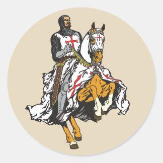 Pegatina Redonda Caballero de Templar