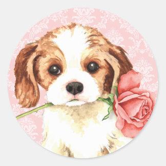 Pegatina Redonda Caballeros subiós tarjeta del día de San Valentín