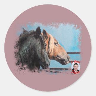 Pegatina Redonda Caballos/Cabalos/Horses
