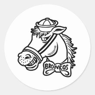 Pegatina Redonda Caballos salvajes del Bronc del caballo del dibujo