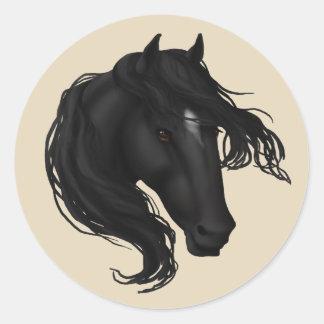 Pegatina Redonda Cabeza de caballo negra