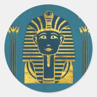 Pegatina Redonda Cabeza de la esfinge del oro con los jeroglíficos