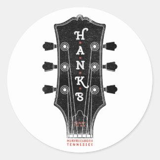 Pegatina Redonda Cabeza de la guitarra de Hank