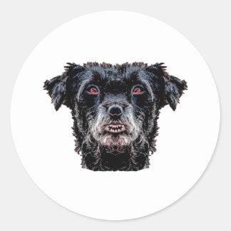 Pegatina Redonda Cabeza de perro negro del demonio