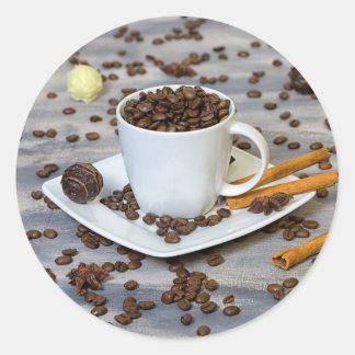 Pegatina Redonda Café y especias