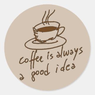 Pegatina Redonda cafeína para los amantes del café