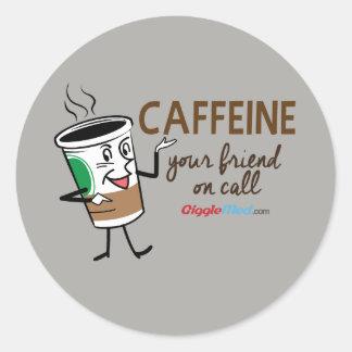 Pegatina Redonda Cafeína, su amigo en llamada
