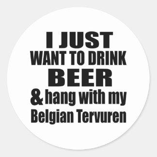Pegatina Redonda Caída con mi Tervuren belga