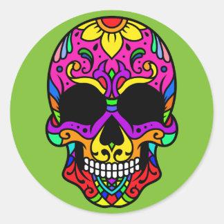 Pegatina Redonda Calavera Skull