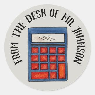 Pegatina Redonda Calculadora personalizada del profesor de